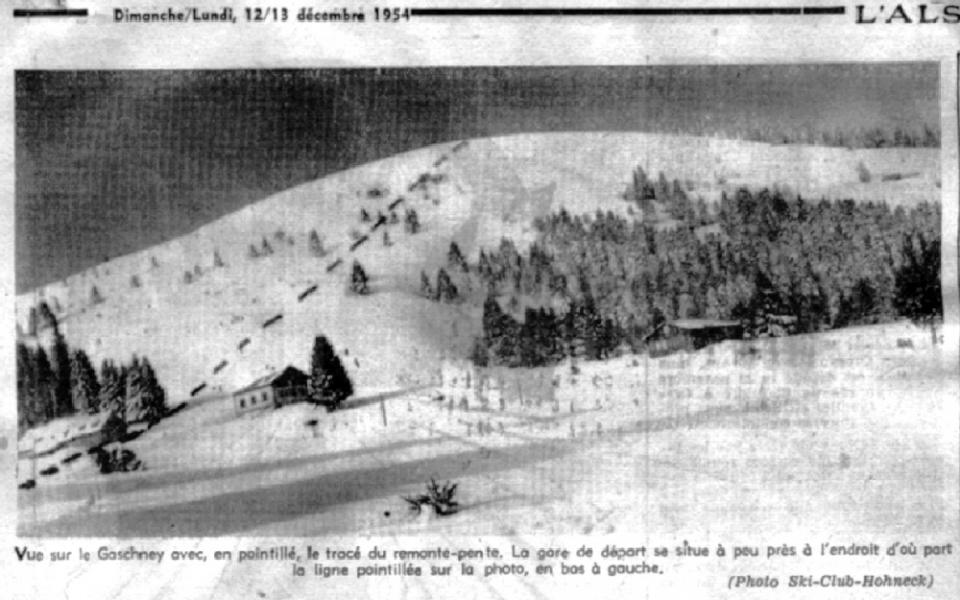 annonce de la création du téléski en 1954