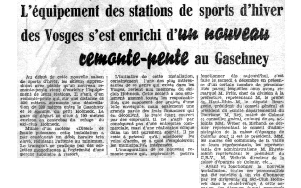 article de presse en 1954